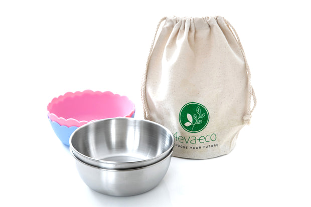4evaeco - Pastel Mini Bowl 2 pack - Pink & Blue