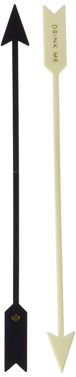 Kate Spade Raise A Glass Drink Stirrer Set - Arrow (Black/Cream)