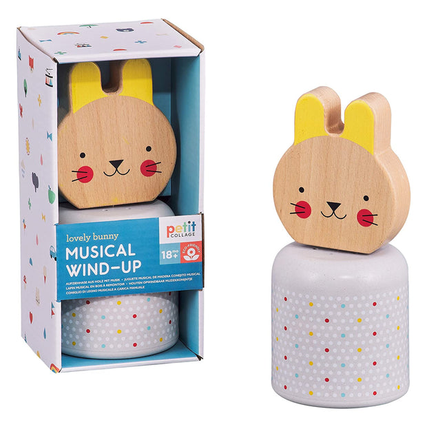 Petit Collage - Wooden Wind Up Musical Bunny