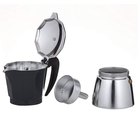 Leaf + Bean - Stove Top Espresso Maker: Silver 6 cup