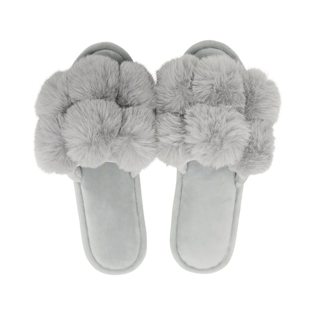 Annabel Trends - Cozy Luxe Pom Pom Slipper - Grey