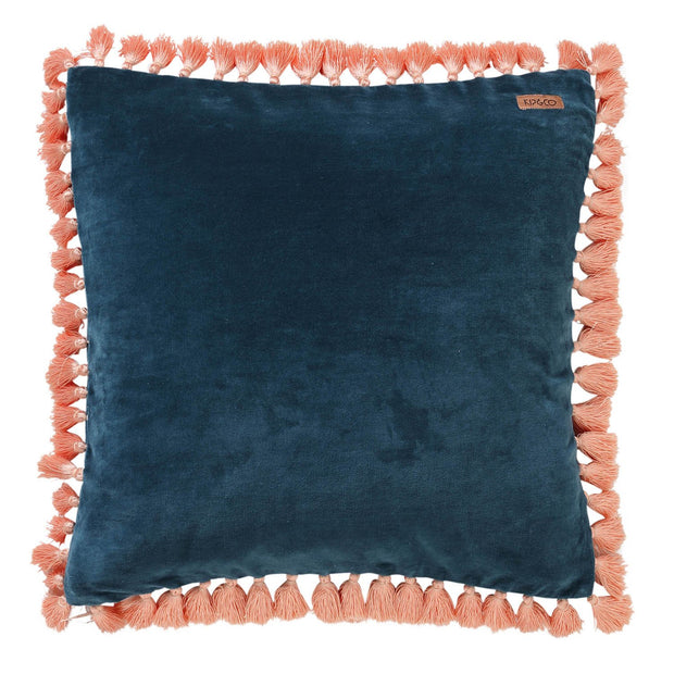 Kip & Co - Teal Velvet Tassel Cushion Cover
