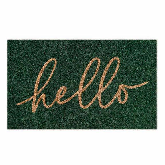 Hello Green Doormat