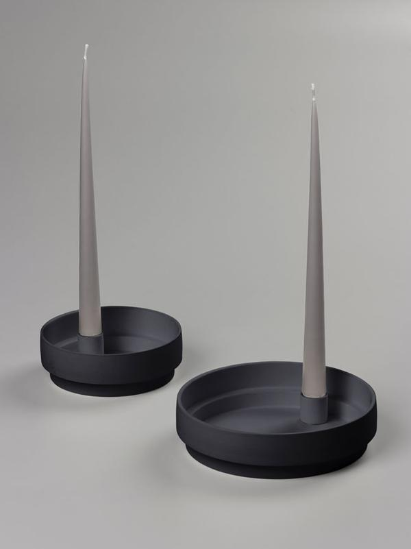 Aery Living - Orbital Step Ceramic Candle Holder - Large - Black
