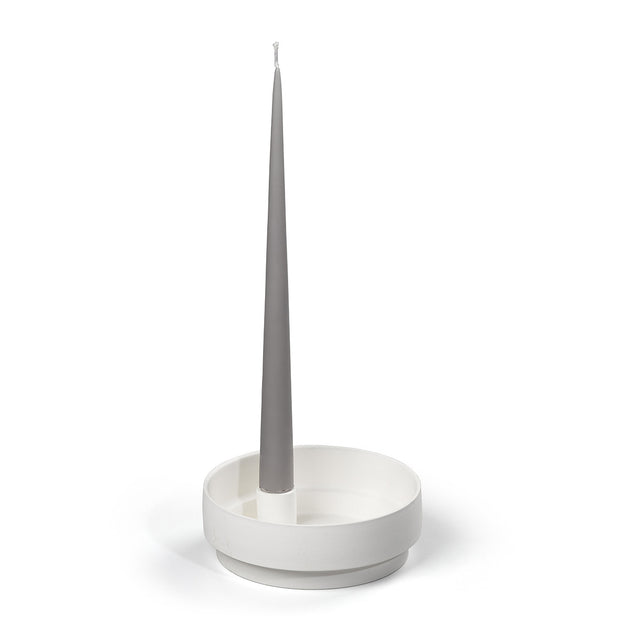 Aery Living - Orbital Step Ceramic Candle Holder - Medium - White