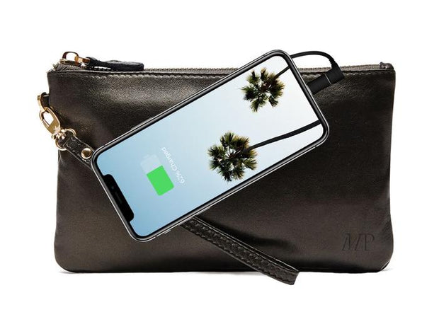 Mighty Purse - Black Shimmer Leather Phone Charging Wristlet