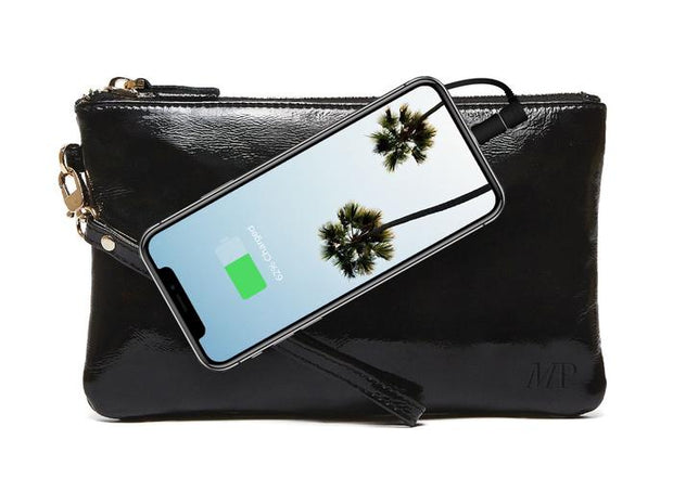 Mighty Purse - Glossy Black Leather Phone Charging Wristlet