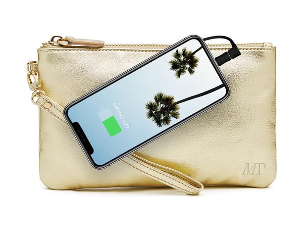 Mighty Purse - Gold Shimmer Leather Phone Charging Wristlet