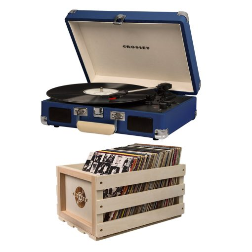 Crosley Cruiser Turntable + Crate Bundle - Blue
