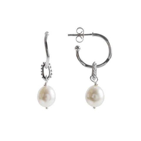 Fairley Pearl Granulation Hoops - Silver