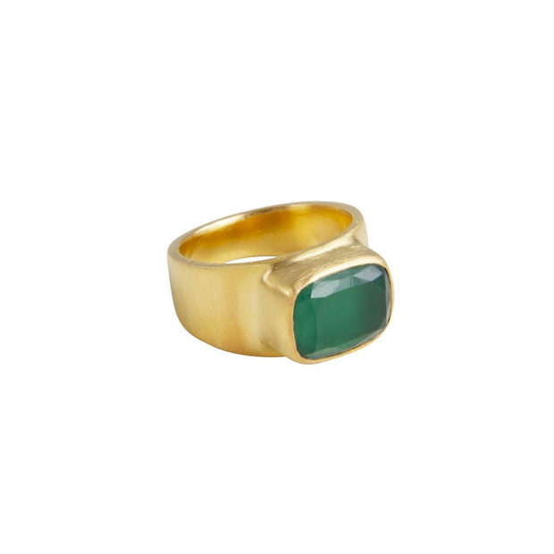 Fairley Green Agate Forest Ring