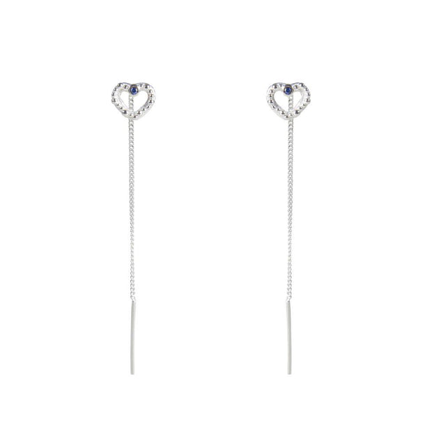 Fairley Samara Blue Sapphire Love Ear Threaders - Silver