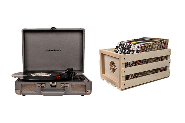 Crosley - Cruiser Turntable + Crate Bundle - Grey