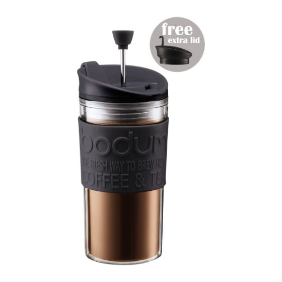 Bodum - Travel Press Set Coffee Maker with Extra lid, Black 12 oz