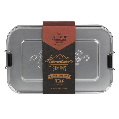 Gent's Hardware Aluminium Lunch Tin -Silver Large