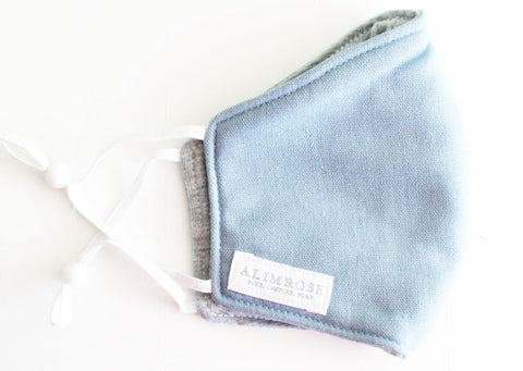 Alimrose - Adult - 3 Layer Face Mask in Blue Grey Linen