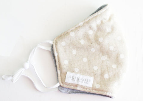 Alimrose - Youth - 3 Layer Face Mask Linen Ivory Spot