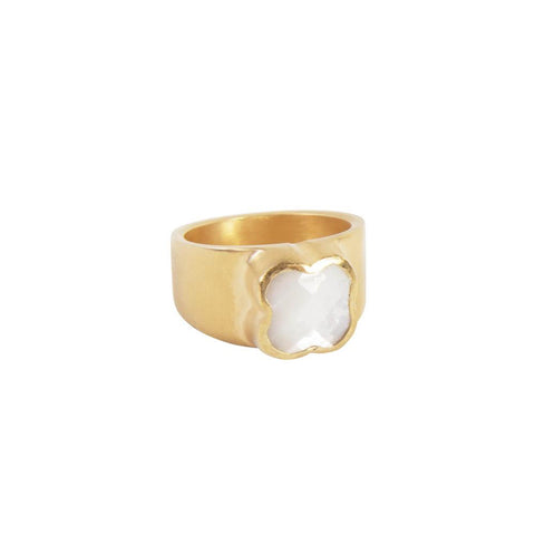 Fairley - Mother of Pearl Clover Ring - Gold