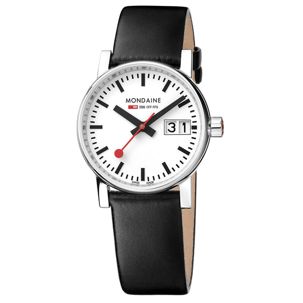 Mondaine Watch -  Evo2 30mm Black Leather