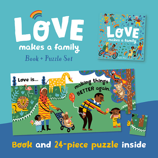 Love Makes A Family Book and Puzzle Set By Sophie Beer