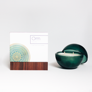 Only Orb - Emerald Glass Orb + Om Candle