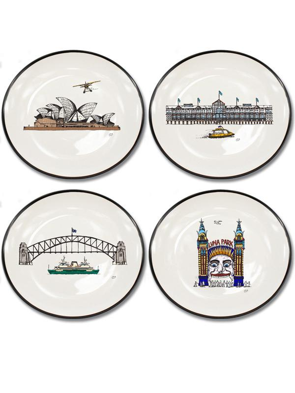 Squidinki - Sydney Harbour Canape Plate Set (Set of 4)