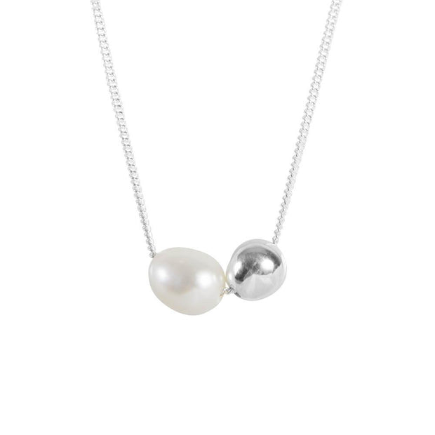 Fairley - Pearl Sphere Necklace - Silver