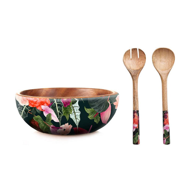 Sanctuary Studio - Mangowood Bowl and Servers Set Summer Garden