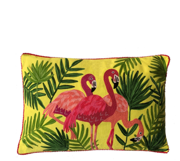 Flamingo Cushion - Yellow Multi
