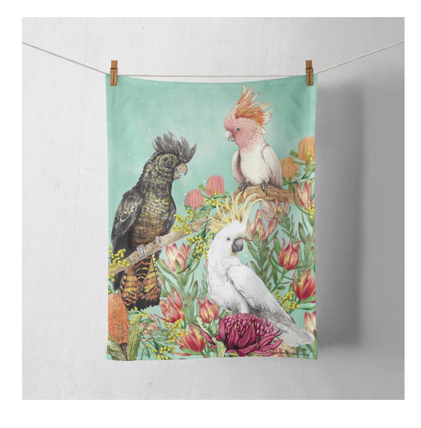 La La Land Cockatoos of Australia Tea Towel