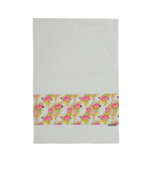 Annabel Trends - Pink Cockatoo Tea Towel