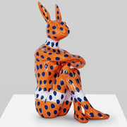 Gillie & Marc Art - Splash Pop City Bunny (on Orange with Blue Dots)