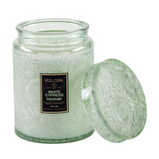 Voluspa - White Cypress 100hr Candle with Glass Lid