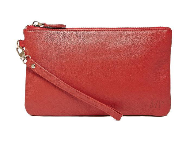 Mighty Purse - Ruby Red Leather Phone Charging Wristlet
