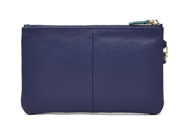 Mighty Purse - Navy Leather Phone Charging Wristlet