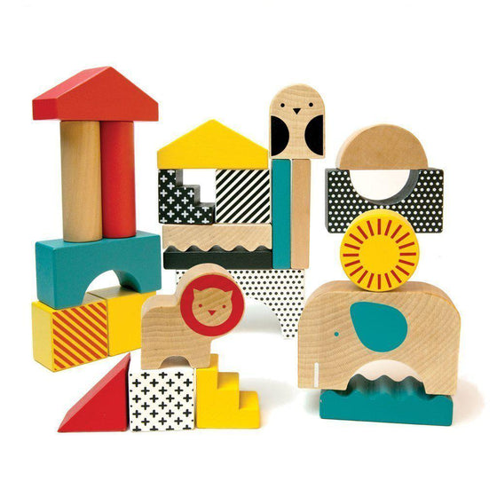Animal Town Wooden Building Blocks-Toys-Petit Collage-OPUS Design