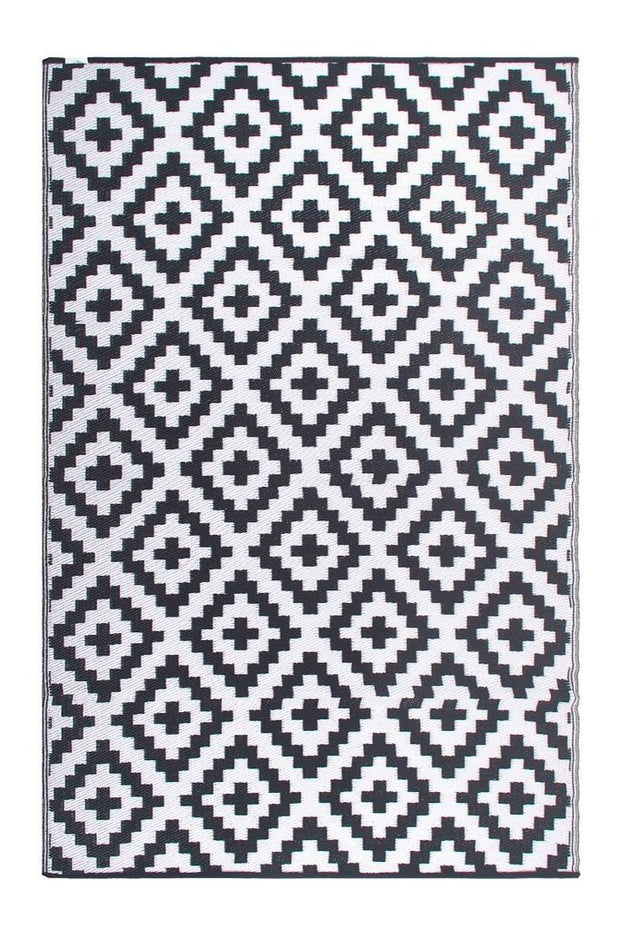 Aztec Grey and White Recycled Plastic Rug