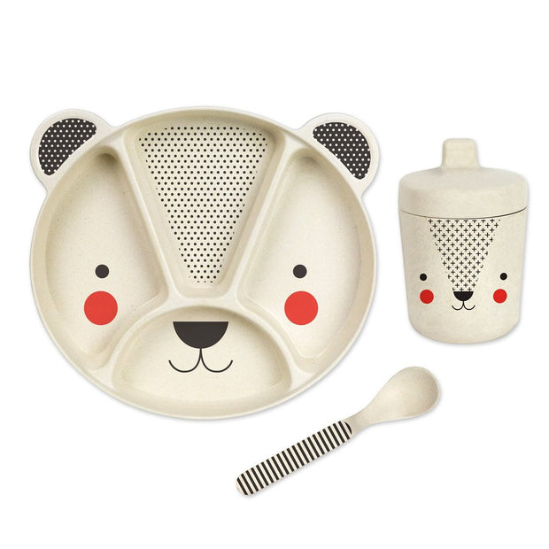 Petit Collage - Bear Baby 3pc Bamboo Dinnerware Mealtime Set