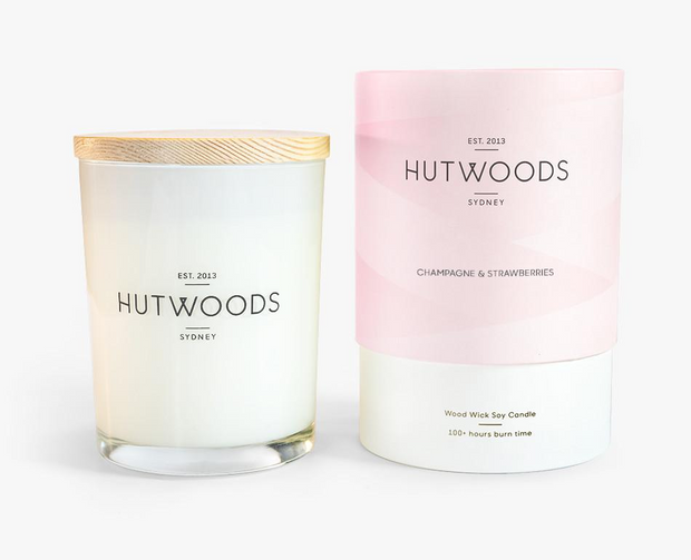 Hutwoods - Champagne & Strawberries 500g Candle