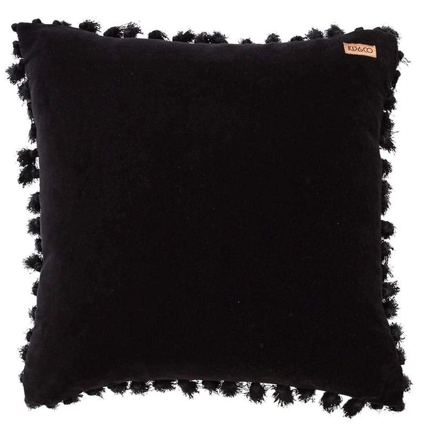 Kip & Co - Jet Black Velvet Tassel Cushion