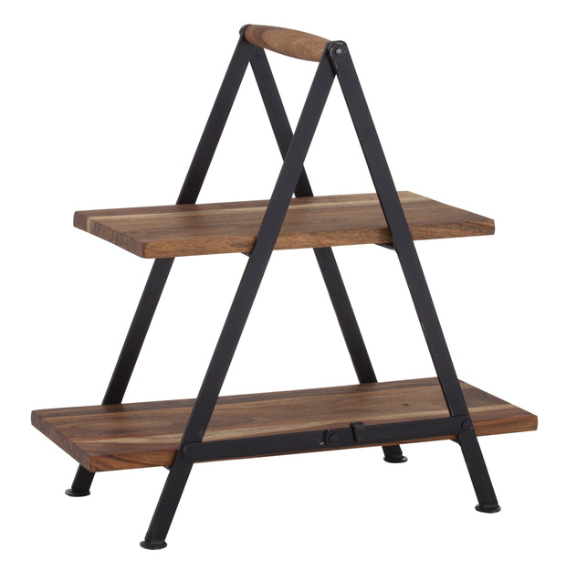 Wooden Two Tier Serving Stand