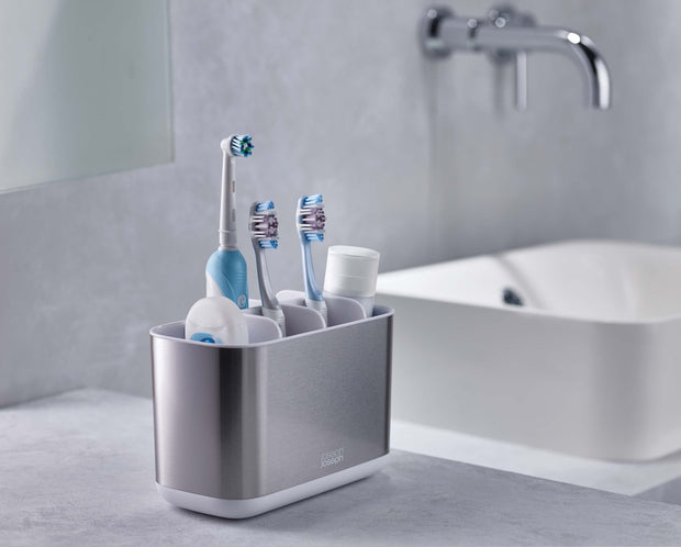 Joseph Joseph EasyStore Steel Toothbrush Caddy Large - White