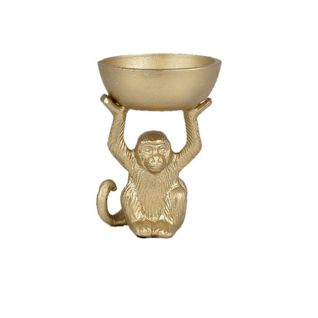 Coast to Coast Home - Mal Monkey Gold Resin Bowl Sculp