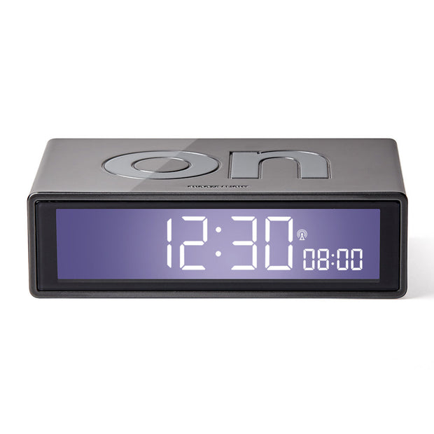 Lexon Flip Dark Grey Alarm Clock