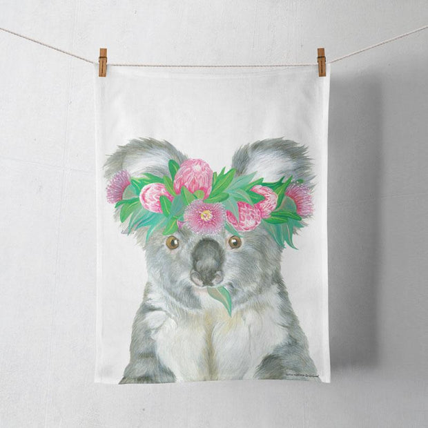 La La Land Flower Crown Koala Tea Towel