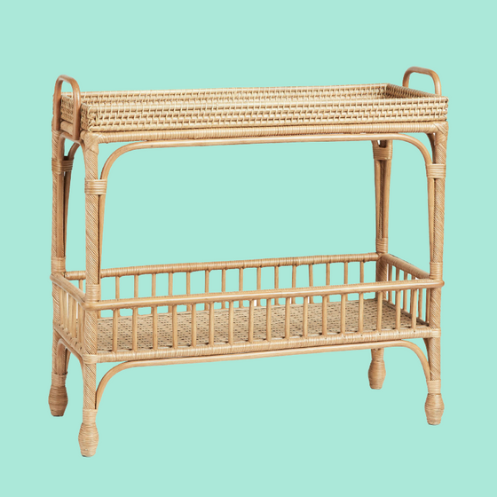 Palm Springs Rattan Bar Cart-Occasional Tables-Other-OPUS Design