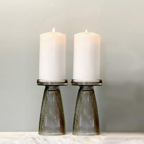 Ripple Glass Candle Holder - Charcoal Green Set Of 2