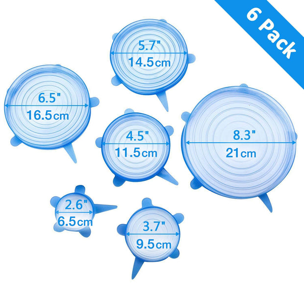 4evaeco - Reusable Stretch Silicone Lid 6pc - Light Blue