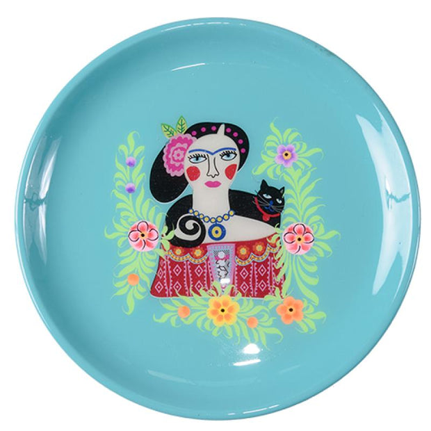 Frida Tray - Black Cat - Turquoise Multicolour