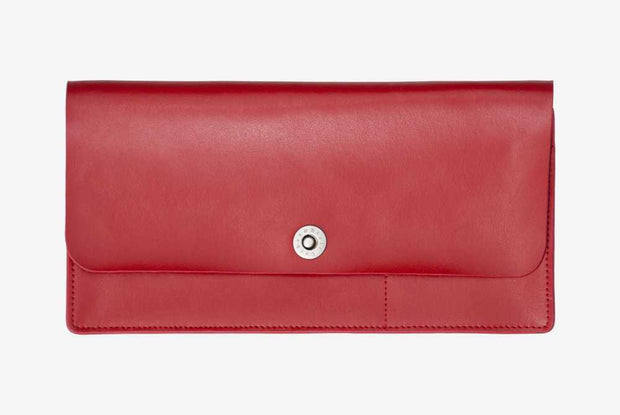 Corban & Blair -Leather Travel Wallet - Red